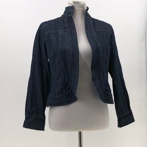 chico's open front denim jean jacket sz 0 or Small